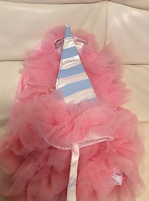 Pottery Barn Kids Cotton Candy Pink Tulle Dress & Hat Costume 3T 2 pc Purim