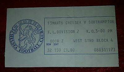 ** TICKET STUB **  CHELSEA v Southampton  13th March 1976   (+ programme)