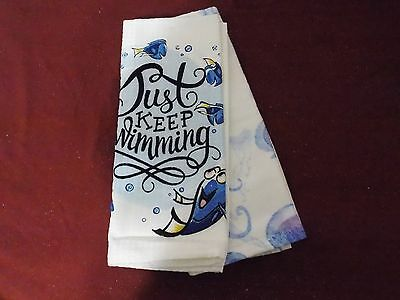 Disney Parks Finding Dory Just Keep Swimming Kitchen Dish Towel Set of 2 New