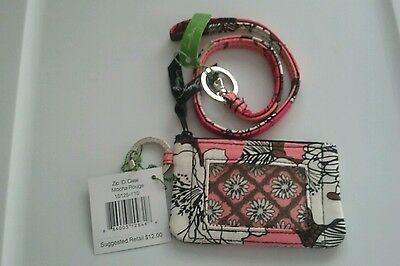 New with tags Vera Bradley zip ID case with lanyard mocha rouge
