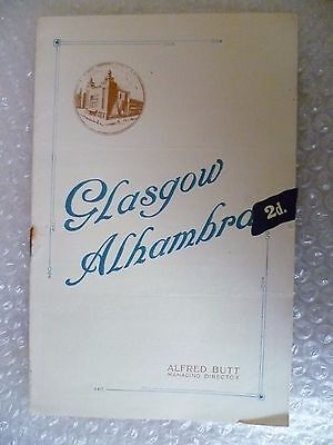 Glasgow Alhambra Theatre Programme THE PASSING SHOW OF 1920- Alfred Butt
