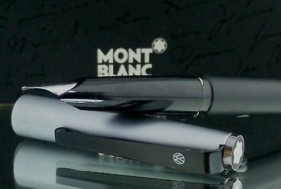 Genuine Montblanc Fountain Pen Black Resin Silver Cap Functional Mint Condit #14