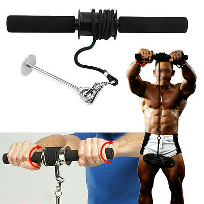 Wrist Curler Roller Curl Grip Arm Forearm Weights Exerciser Strength Training