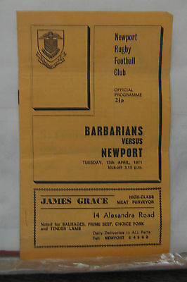 1971 NEWPORT V BARBARIANS rugby union programmes