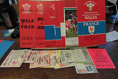 wales v france collection all with tickets 1976-1988  rugby union programme