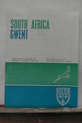 1969 GWENT  V SOUTH AFRICA rugby union programmes