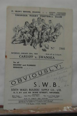 1950 SWANSEA V CARDIFF rugby union programme