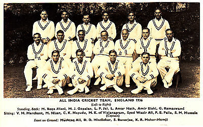 Cricket All India Test Squade 1936 Real Photo P/card