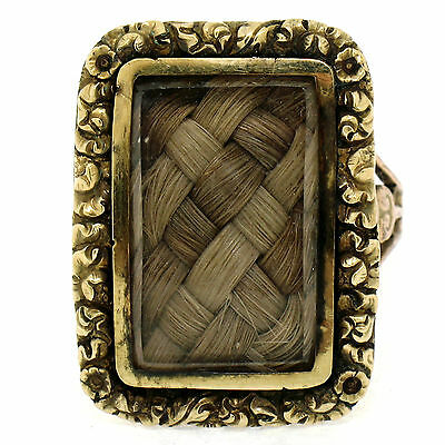 Antique Victorian 14K Yellow Gold Etched Frame Braided Hair Mourning Locket Ring