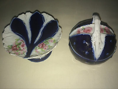Vintage China Shabby Chic Dressing Table Set Lidded Pot And Dish