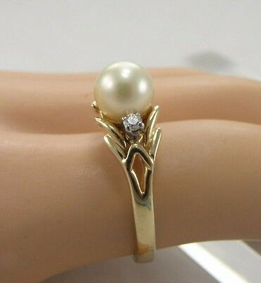 Solid 14k Yellow Gold 7mm Cream White Pearl w/ 2 Diamonds Ring Size 6