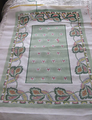Large PAINTED NEEDLEPOINT Area RUG CANVAS - 58 x 42 - Florals in Green/Pink +