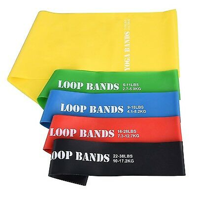 Exercise Resistance Band Set Patec 4 Resistance Loop Bands and 1 Long Flat Yo...