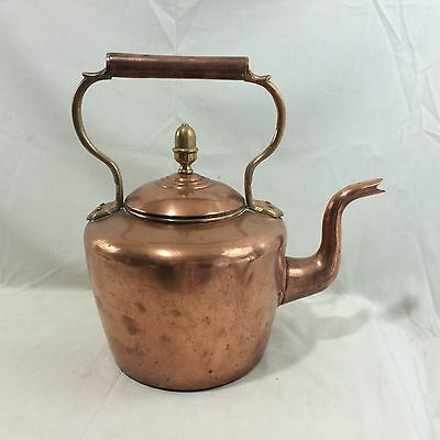 Beautiful Antique WSW&B signed Large Copper Kettle with Acorn Finial & Dovetails