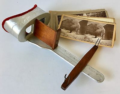H.C.White Perfecscope Stereoviewer/Stereoscope Card Viewer with 20 Stereoviews