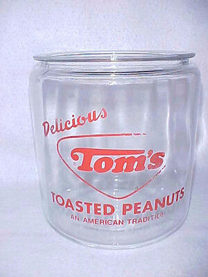 Vintage 1960s Tom's Peanut 1st. Red Jar, Lance Gordon's Display Store
