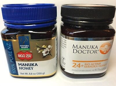 2 Jars Manuka Honey Combo Manuka Health MGO 250 & Bio Active 24+ Plus