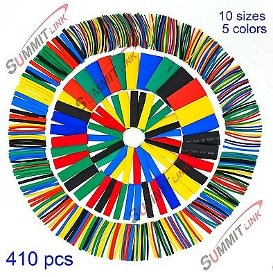 SummitLink 410 Pcs Assorted Heat Shrink Tube 5 Colors 10 Sizes Tubing Wrap Sl...