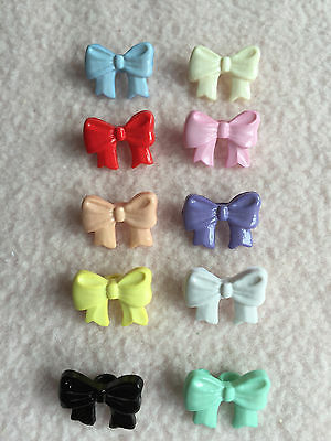 10 x MULTI-COLOURED  BOW SHAPED BUTTONS size: 26L (16mm x 10mm) ~ BABY/CRAFT