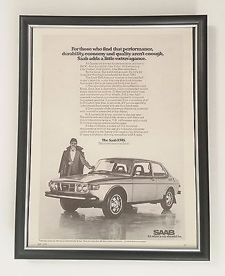 B3G1 Saab EMS Original Full Page Ad Collectible Vintage 1975 70s FRAMED!