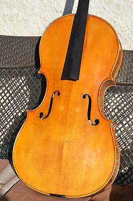 Old FRENCH cello, early-20th. JTL iron brand, with authentification
