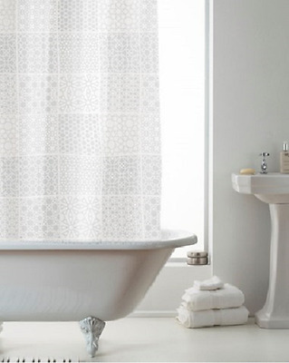 DAMASK DESIGN SHOWER CURTAINS WITH RINGS - BEIGE 180cmx180cm- FREE P&P!!!