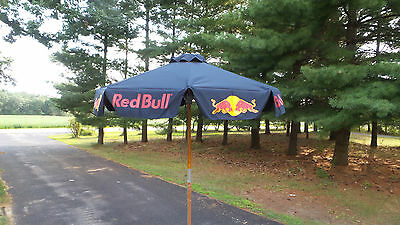 Beautiful Unused NOS Red Bull Energy Drink Patio Umbrella 6 Foot With Carry Tote