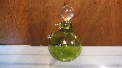 Vintage Green CRACKLE Cruet Clear Handle & Stopper 6""