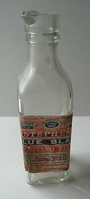 Stephens Blue Black Writing Fluid. Glass Lipped Bottle With Original Label.