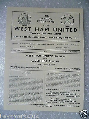 1956 Combination Match WEST HAM UNITED Reserves v ALDERSOT Reserves, 17 Nov
