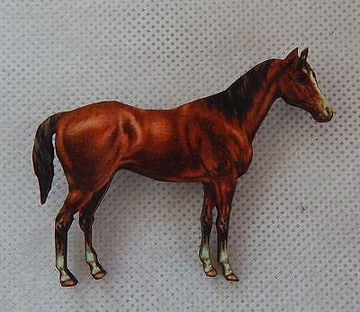 Brown Horse Brooch or Scarf Pin Accessories, Jewelry Fashion Wood Handmade NEW