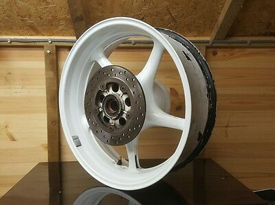 Yamaha R6 2co/13s rear wheel, white, 06-16 with brake disc