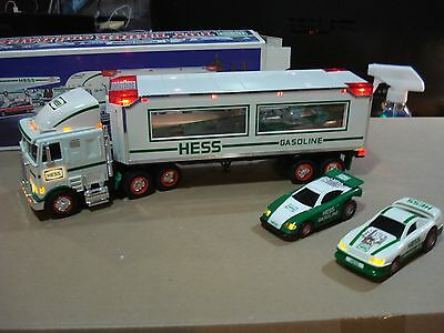 1997 Hess Toy Truck with Racer and lights