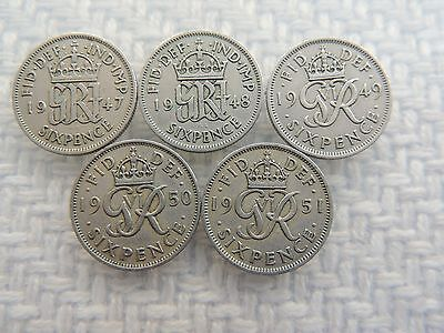 1947, 1948, 1949, 1950, 1951 GEORGE VI SIXPENCE COINS ref 38