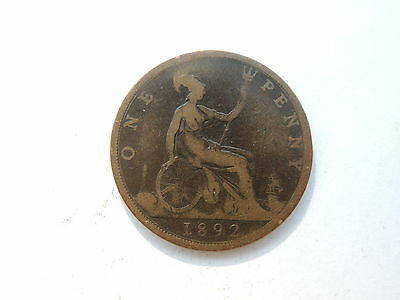1892 QUEEN VICTORIA ONE PENNY COIN - Ref S246
