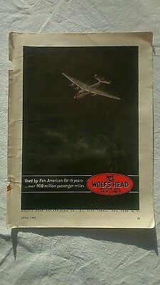 Wolfs head motor oil and lubes ww11 gas and oil Pan American aviation 1942 sign
