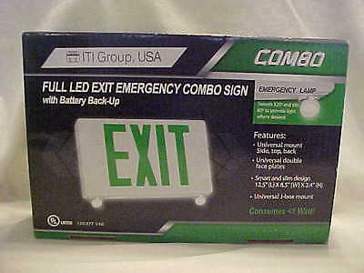 ITI Group  green led EXIT comob  sign new in box