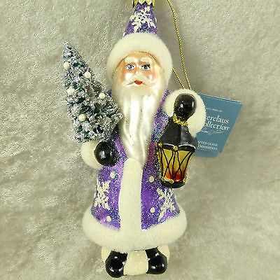 NWT Kurt Adler Blown Glass Santa Wynterclaus Christmas Ornament Purple Glittered