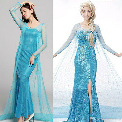 Frozen Vestito Carnevale Donna Elsa Dress up Woman Elsa Cosplay Costume 12 y