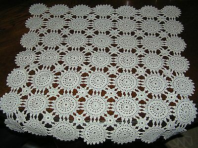 """Vintage? Crochet White Square Table Centre Doily Hand Made Crocheted 17"""" 43cms"""