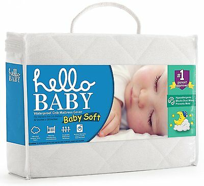 Hello Baby Waterproof Crib Mattress Cover- Quilted Ultra Soft White Bamboo Terry