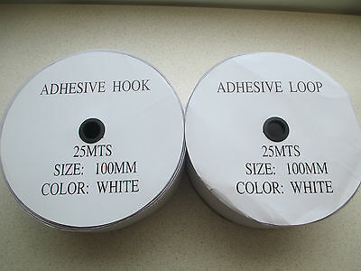 WHITE 100mm x 10M Pair HOOK and LOOP strong Self Adhesive Fastener Tape