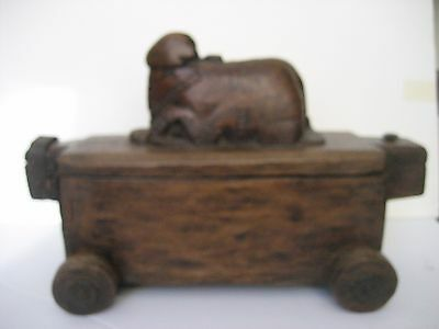 Antique Carved Nandi Spice Box Seed Pot India Late 1800's-Early 1900's