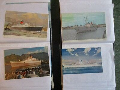 Collection of 80 old colour SHIPPING POSTCARDS
