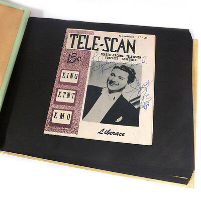 Vitnage Liberace Autographed Television Schedule inside of Scrapbook