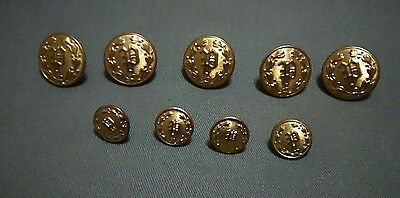 Vintage Military Waterbury Co. Gold Tone Metal Sewing Buttons Letter P