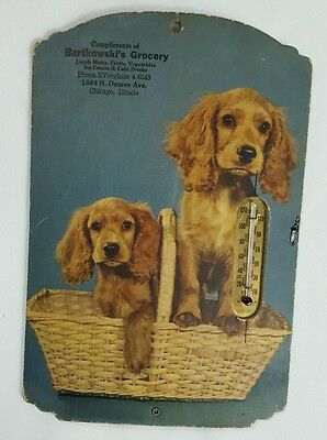 Vintage Advertising Thermometer - Puppies in Basket - Chicago IL.
