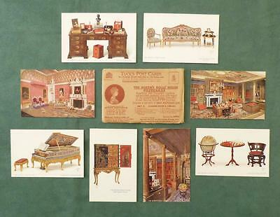 SET of 8 CARDS - QUEEN MARY'S DOLLS HOUSE, Set 2, Windsor Castle_Tucks c.1920's