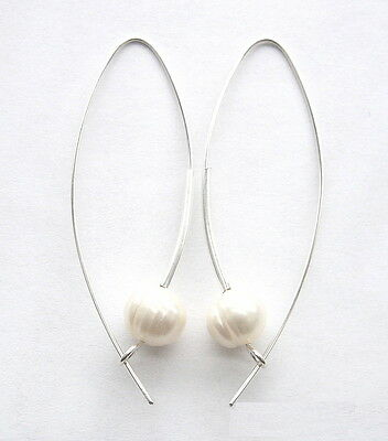 Pearl - 925 Sterling Silver Earrings with large white freshwater pearls