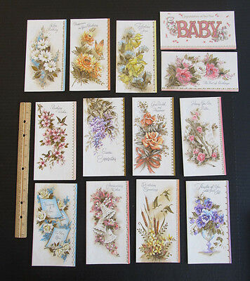 13 Coronation Greeting Card Lot, Assorted Glitter, Envelopes in Box, Made in USA